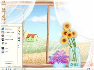 手绘窗台风景电脑主题