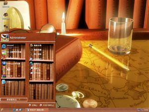 木质纹理书架电脑主题