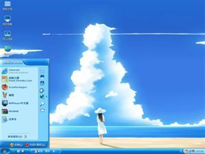 蓝色海滩插画电脑主题