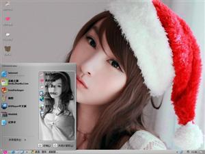 蔡�Z彤圣诞美女电脑主题