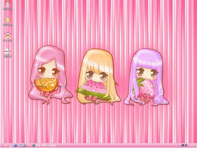夏日粉粉可爱女孩桌面主题