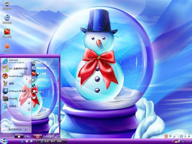 可爱小雪人桌面主题