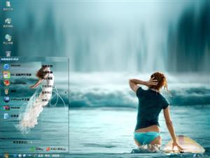 湖中美女电脑主题