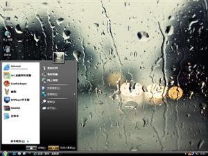 雨中玻璃电脑主题