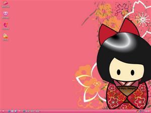 卡通可爱女孩电脑主题