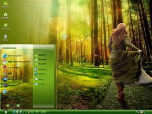 森林女孩电脑主题