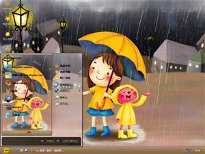 雨中嬉戏电脑主题