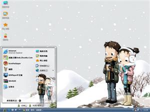 雪景可爱插画电脑主题