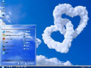 创意蓝天白云爱心设计电脑主题