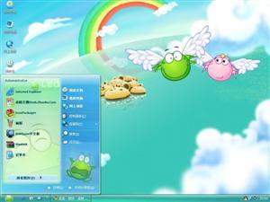 可爱绿豆蛙电脑主题