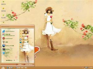 蔷薇女孩电脑主题
