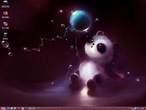 水彩熊猫电脑主题
