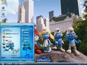 蓝精灵卡通电脑主题