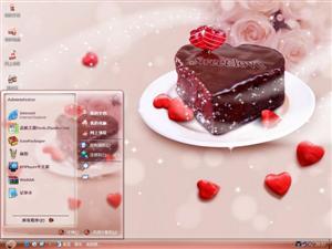 爱心巧克力蛋糕电脑主题