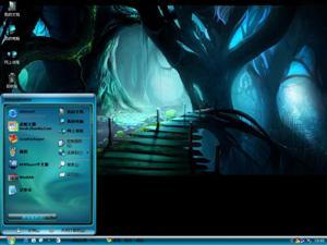 黑夜森林意境风景电脑主题