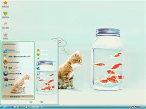 幸福就是猫吃鱼电脑主题