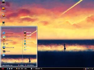 夕阳女孩电脑主题