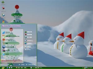 圣诞可爱雪人电脑主题