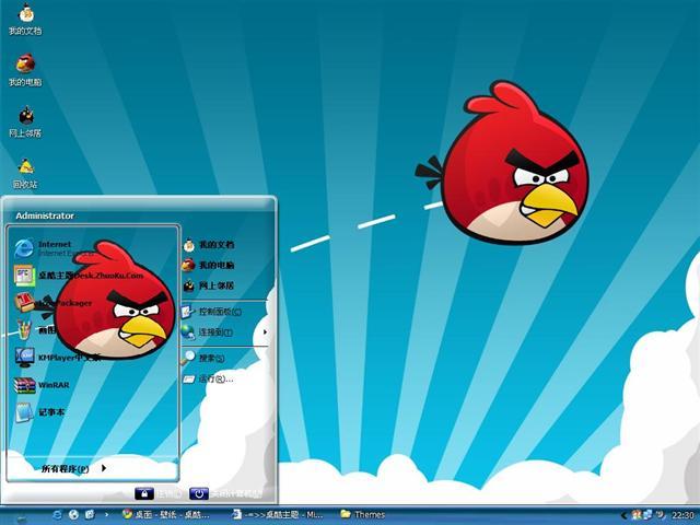 可爱愤怒的小鸟桌面主题