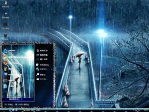 雨中等候电脑主题