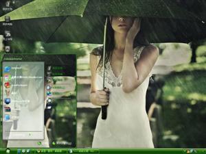 雨中美女电脑主题