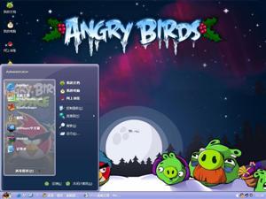 愤怒的小鸟冬季版电脑主题