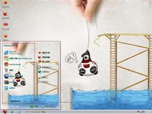 无知熊猫跳水电脑主题