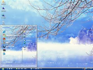 冰蓝的冬天湖景电脑主题