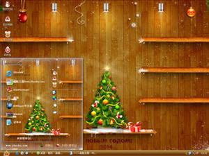 圣诞书架电脑主题