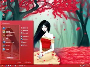 手绘美女电脑主题