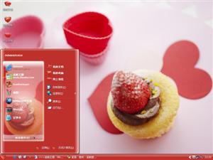 爱心草莓电脑主题