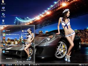 法拉利599改装车美女模特电脑主题