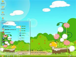 蘑菇点点可爱卡通电脑主题