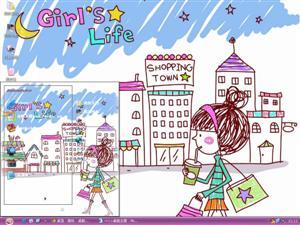 手绘快乐女孩电脑主题