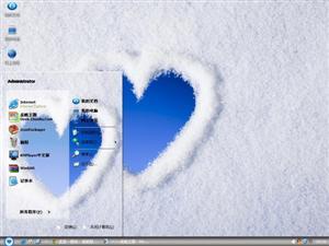 雪地心形电脑主题