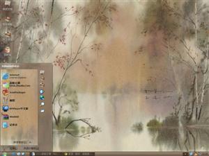 中国写意风景水彩画电脑主题