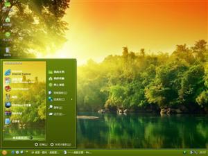 夕阳湖光山色电脑主题