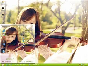 拉小提琴唯美女生电脑主题