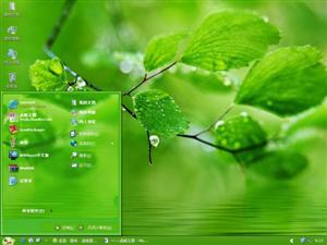 水边绿树叶电脑主题