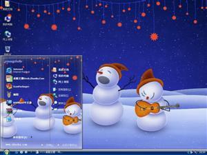 可爱圣诞雪人电脑主题
