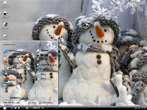 可爱雪人一家电脑主题