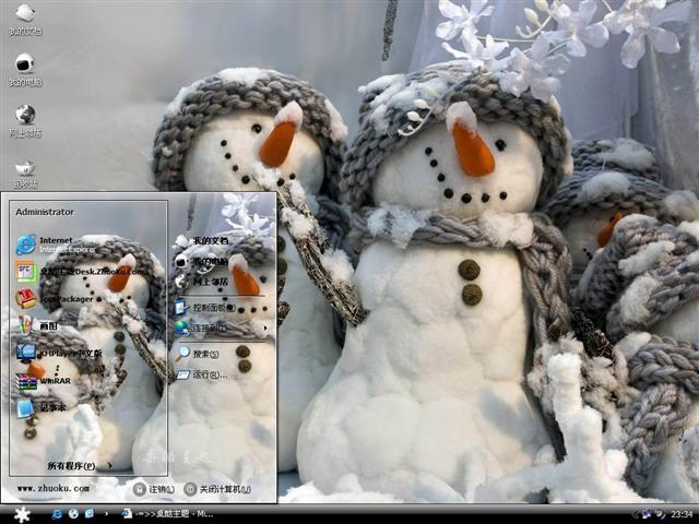 可爱雪人一家桌面主题
