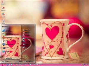 爱心情侣杯子电脑主题