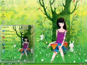 女孩插画电脑主题