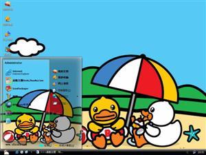 大黄鸭可爱卡通电脑主题