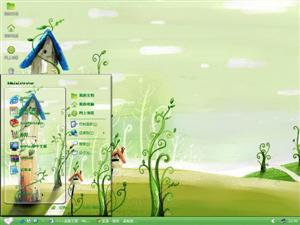 绿色可爱卡通风景电脑主题