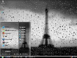 雨夜铁塔电脑主题