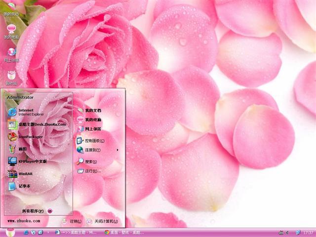 初恋粉玫瑰桌面主题